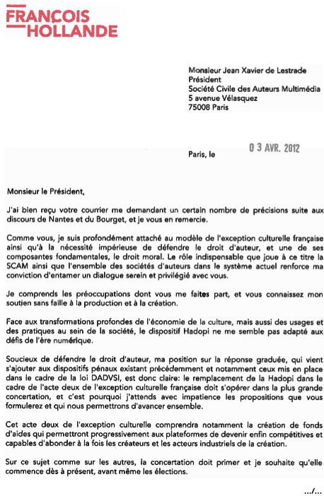 François Hollande écrit aux auteurs