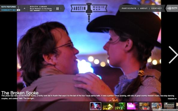 Austin Music Map conçu avec Zeega, dont le player est customizé.