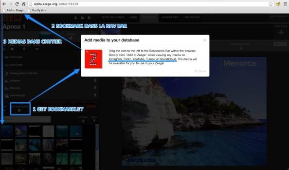 Installer le marque-page (bookmarklet) à partir de l'éditeur Zeega...